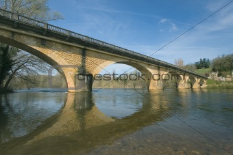 Bridge over the river Dordogna in France
