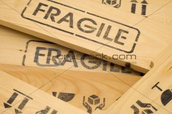 fragile sign close up