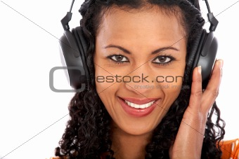 casual woman enjoying the music
