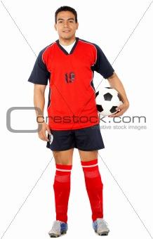 male footballer smiling
