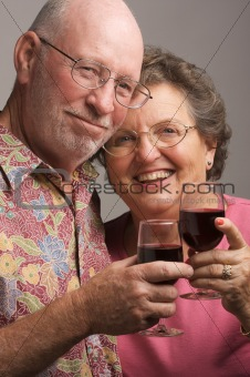 Happy Senior Couple Toasting