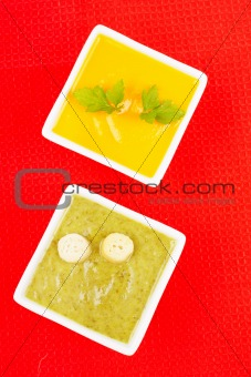 Carrots puree with parsley and spinach