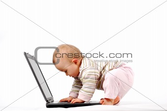 baby having fun with laptop #13