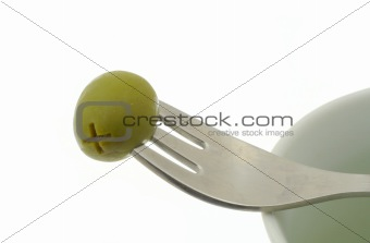 olive stuck on a fork