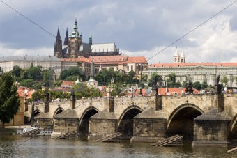 prague - cathedral and bridge