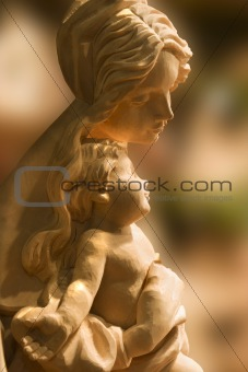 wood statue of holy mary