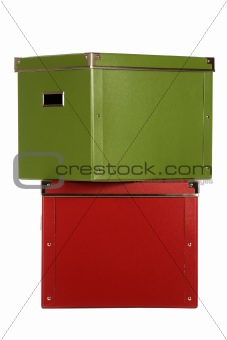 Green box and red box