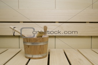 Wooden items inside a sweedish sauna