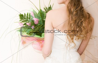 bride with bunch of tulips