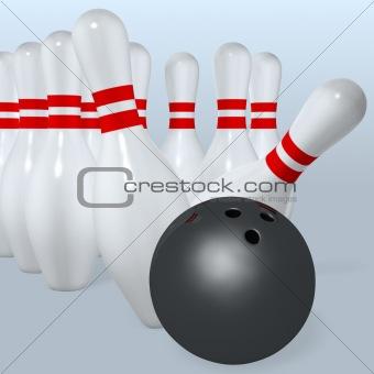 bowling ball hit pins