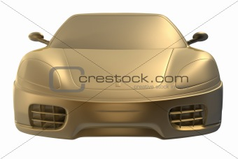 3d golden sports car