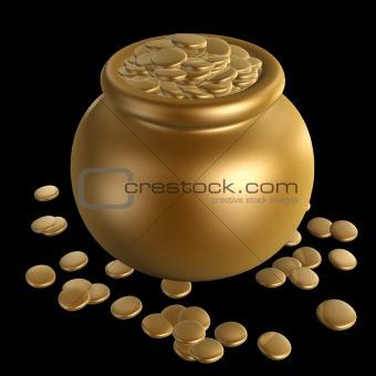 gold coins in jar