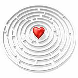 red heart in maze