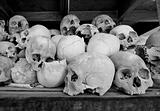 Skulls in the monument at The Killing Fields at Choeung Ek, Cambodia