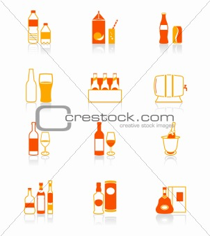 Drink bottles red-orange icon-set