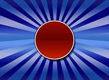 A blue sunburst background with center red button for text