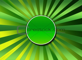 A green sunburst background with center button