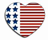 A patriotic red white and blue love heart