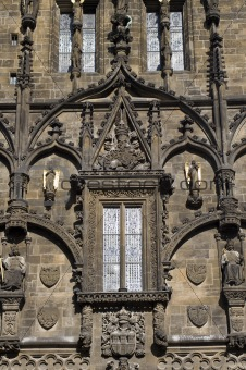 detail of gothic tower from prague