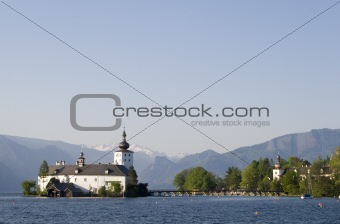 cloister on the traunsee lake in austria