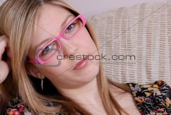 attractive blonde teenage student