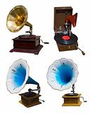Set of vintage gramophones