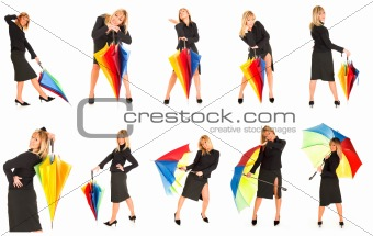 young girl with umbrella in colors