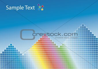 Rainbow pyramids background