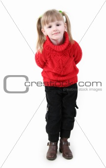 little girl in red cardigan