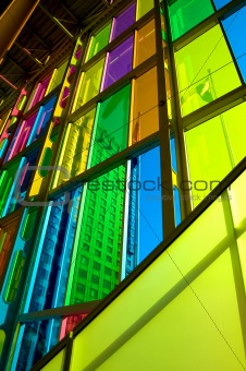 city behind colorful windows