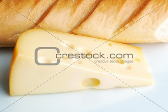 fresh and tasty slice of cheese and bread