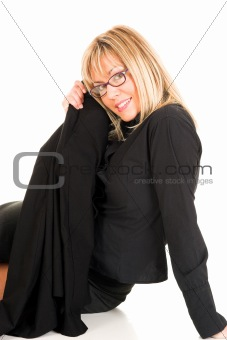 beautiful young woman with eyeglasses