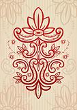 Vector illustration of a red and beige abstract floral frame