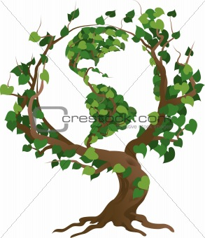 Green world tree vector illustration