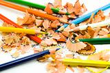 coloured pencils and sawdust