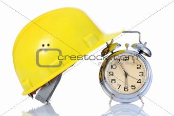 alarm clock and helmet