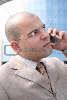 A businessman with mobile phone