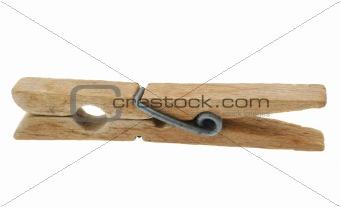 old wooden peg on white