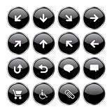 Web icon set 2  (16 black buttons)