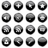 Web icon set 4  (16 black buttons)