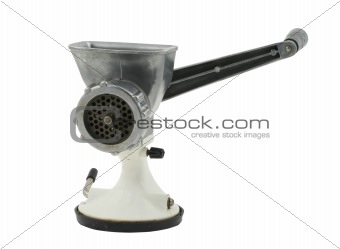 old manual mincer on pure white background