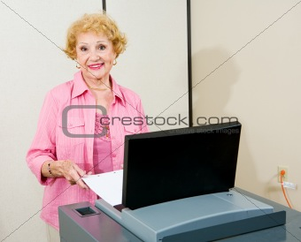 Senior Woman at Polls