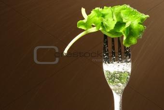 Leaf of lettuce on a fork