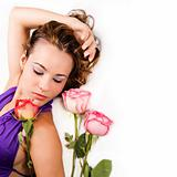Beauty with roses - isolated