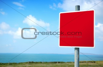 Empty Red Road Sign