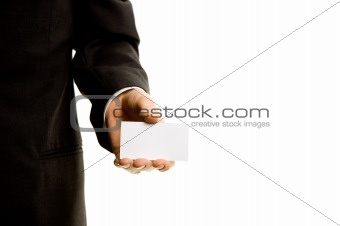 Businesscard in the hand of a businessman