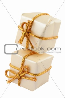 pair of toy presents on pure white background