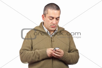 Casual man sending sms