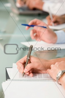Hand writing on the document