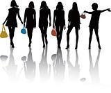 Women silhouettes vector illustration